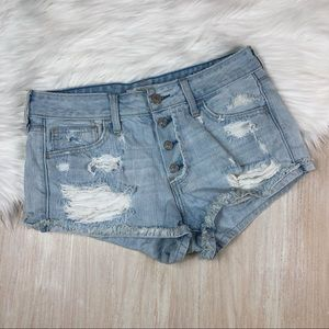 Abercrombie & Fitch Denim Distressed Button Shorts